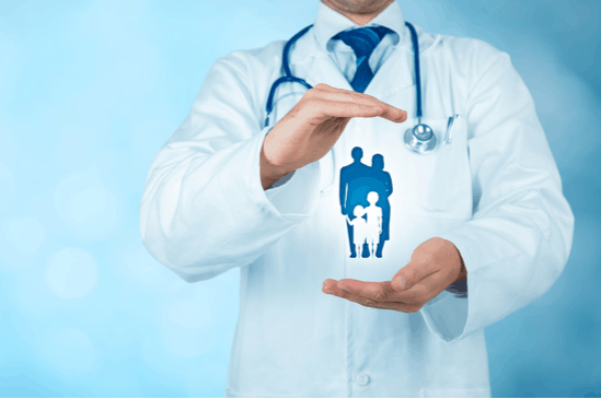 Doctor cupping family portrait Long Island Gastroenterology